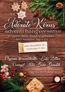 Az Adorate Kórus idei adventi koncertjének időpontja: 2019.december 22.